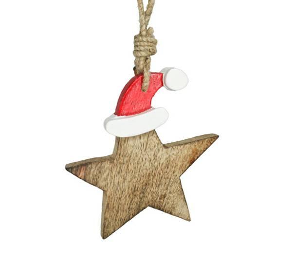 Bilde av Stjerne av tre med rød nisselue, for oppheng.