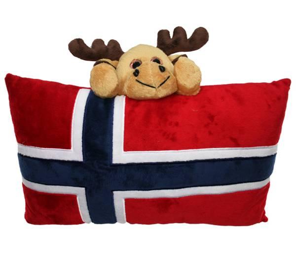 Bilde av Pute, norsk flagg og elg