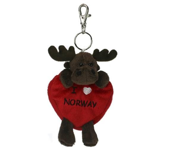 Bilde av Elg anheng lommebok, mørk brun , I love Norway
