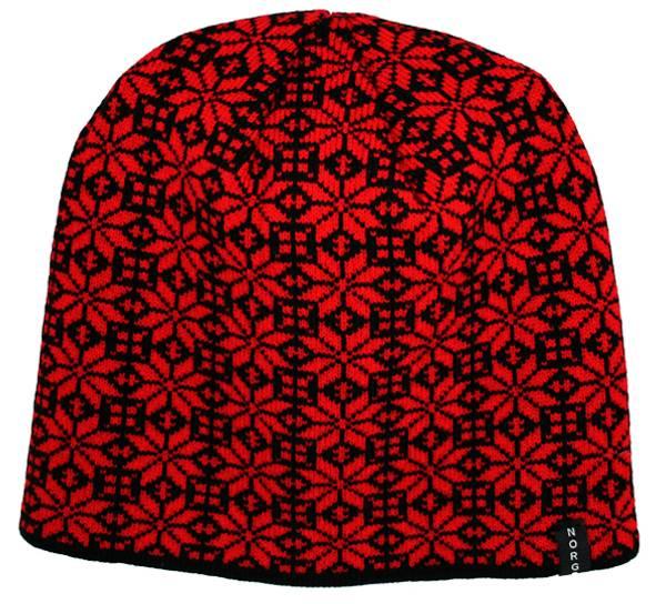 Bilde av Lue rosemønster, sort/rød, 'Norway'