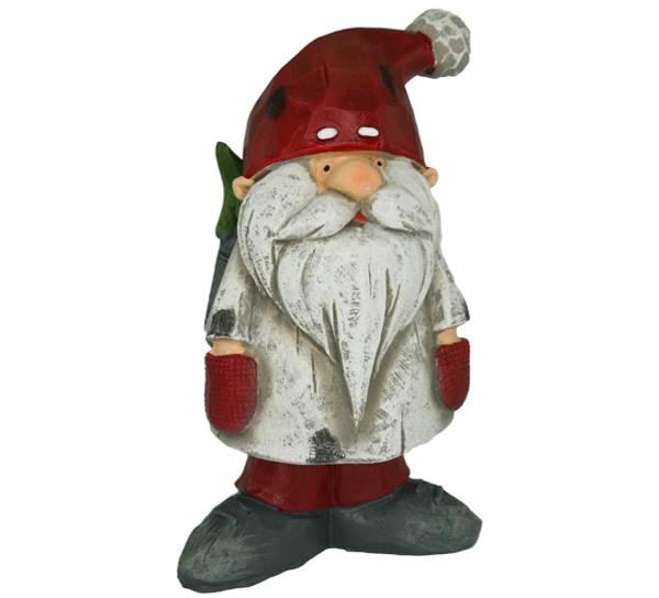 Bilde av Nisse grå med rød lue og juletre