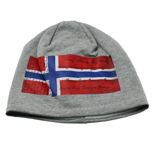Bilde av Lue grå med norsk flagg