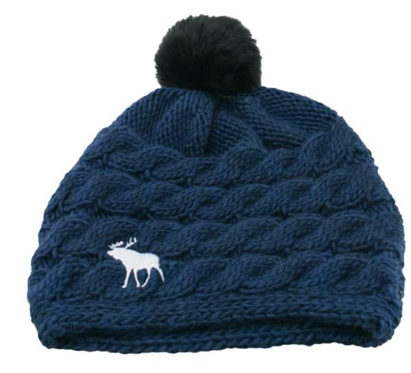 Bilde av Lue, flettet, blå med brodert elg