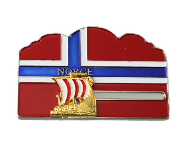 Bilde av Magnet norsk flagg m. gull vikingskip