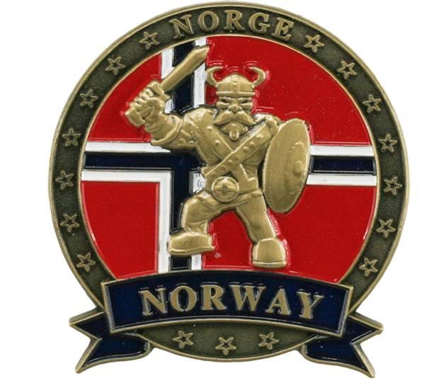 Bilde av Magnet i metall med gull viking og Norway
