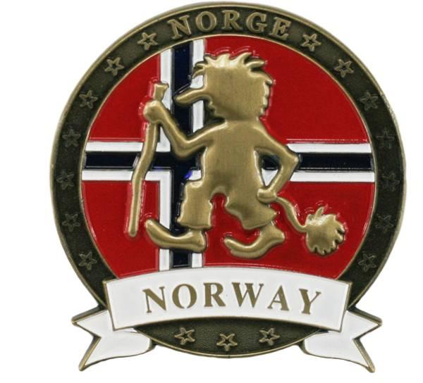 Bilde av Magnet i metall med gull troll og Norway