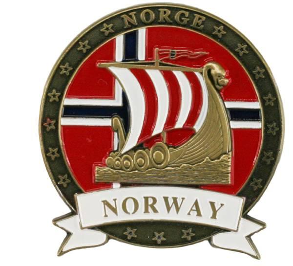 Bilde av Magnet av metall med gull vikingskip og Norway
