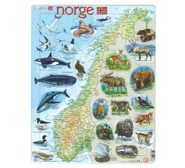 Bilde av Puslespill  Norgeskart med dyr 62 brikker