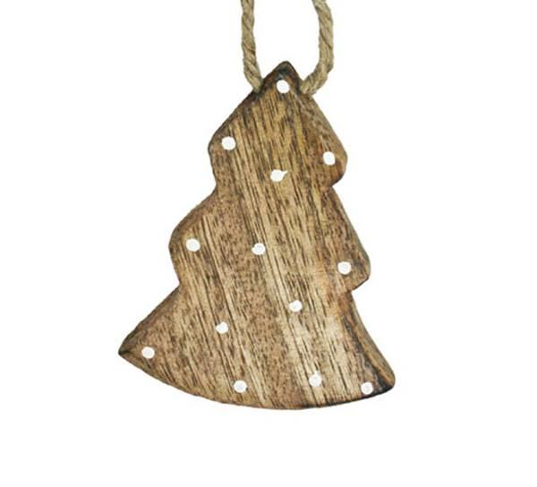 Bilde av Juletre av tre med hvite prikker, stort, for