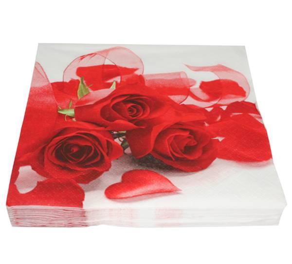 Bilde av Servietter, røde roser