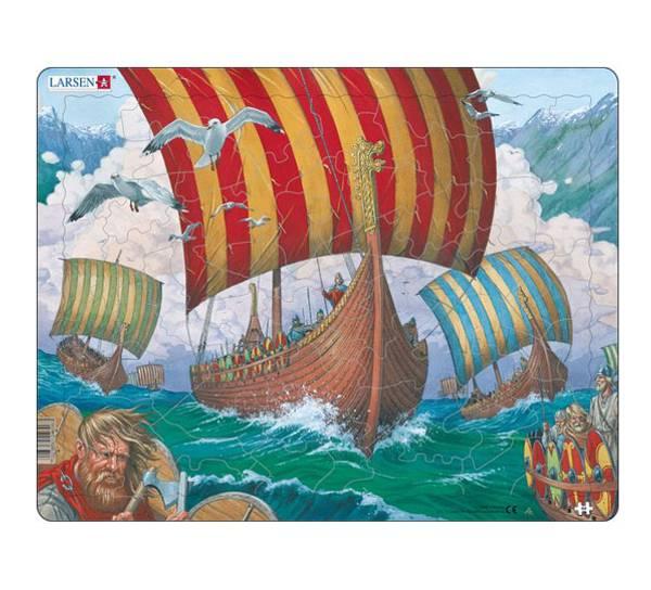 Bilde av Puslespill  Vikingeskip - Ormen Lange  64 brikker