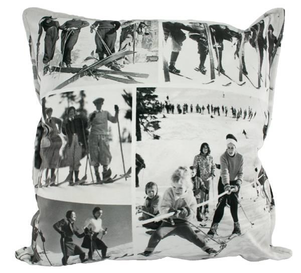 Bilde av Velorpute med fyll, skimotiv sort/hvit,