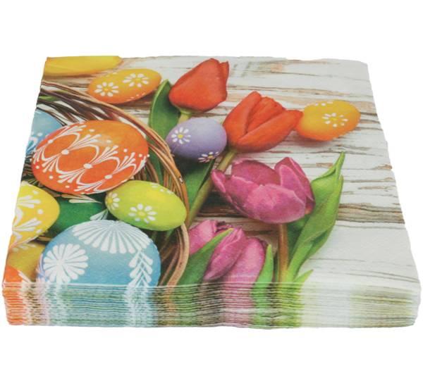Bilde av Servietter med egg og tulipaner