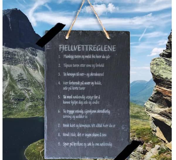 Bilde av Skifer veggplate med fjellvettreglene