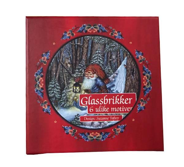 Bilde av Glassbrikker sett a6 i gaveeske Julestemning