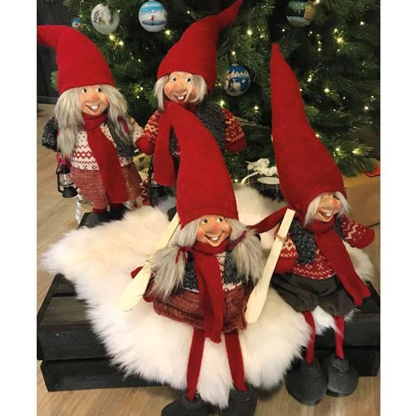 Bilde av Nissejente med lykt og hvit/rød genser