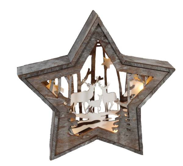 Bilde av Stjerne med hjort og trær, stor, Ledlys