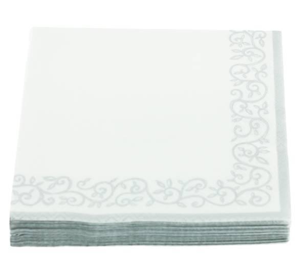 Bilde av Servietter, ornamentbord Hvit m. sølv