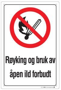 Bilde av Skilt røyking forbudt 200x300 mm