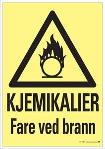 Bilde av Skilt kjemikalier fare ved brann 200x300 mm