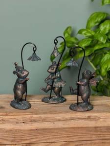Bilde av Sett med 3 små mus med blomster