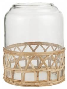 Bilde av Glasklokke m/hull i toppen med bambusflette