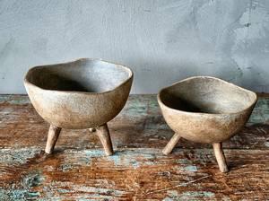 Bilde av Keramikkfat på ben d 12 cm brun