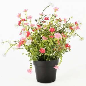 Bilde av Blomsterpotte med røde/rosa blomster 25x25x28cm