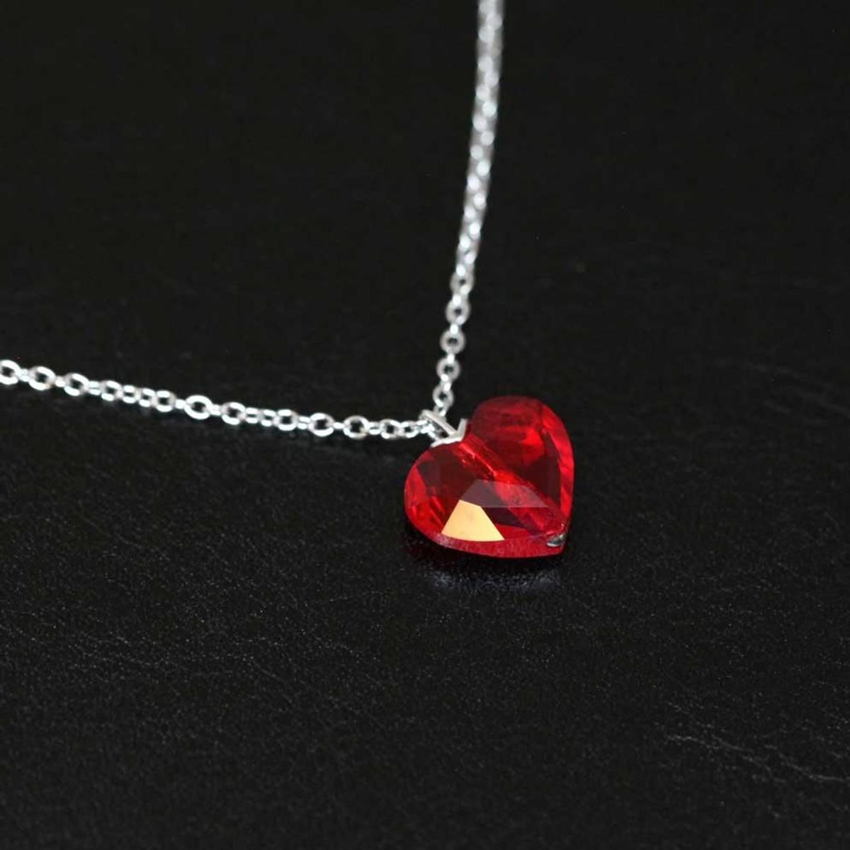 Hjerteformet krystall - Sølvsmykke