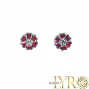 Bilde av Emaljerte Røde Blomster - Sølv