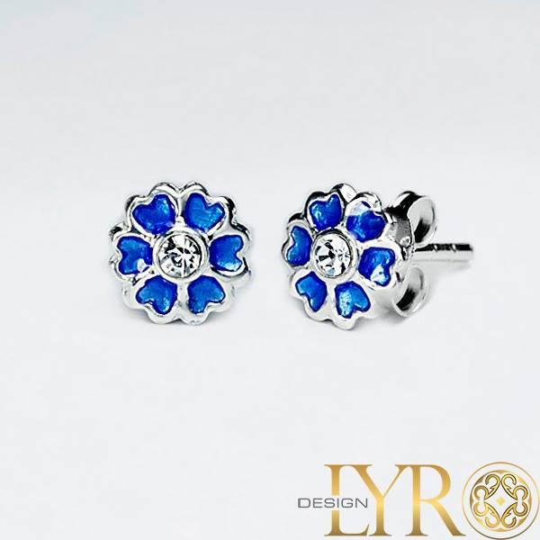 Emaljerte Blå Blomster - Sølv