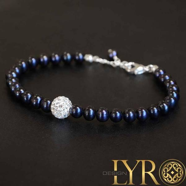 Bilde av Perlearmbånd - Mørke Blå Ferskvannsperler