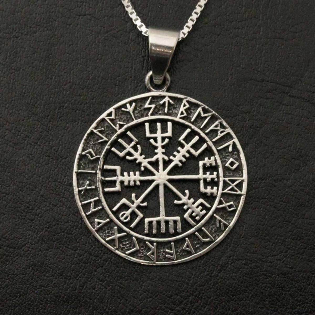 Vegvisir i runesirkel - Sølvanheng