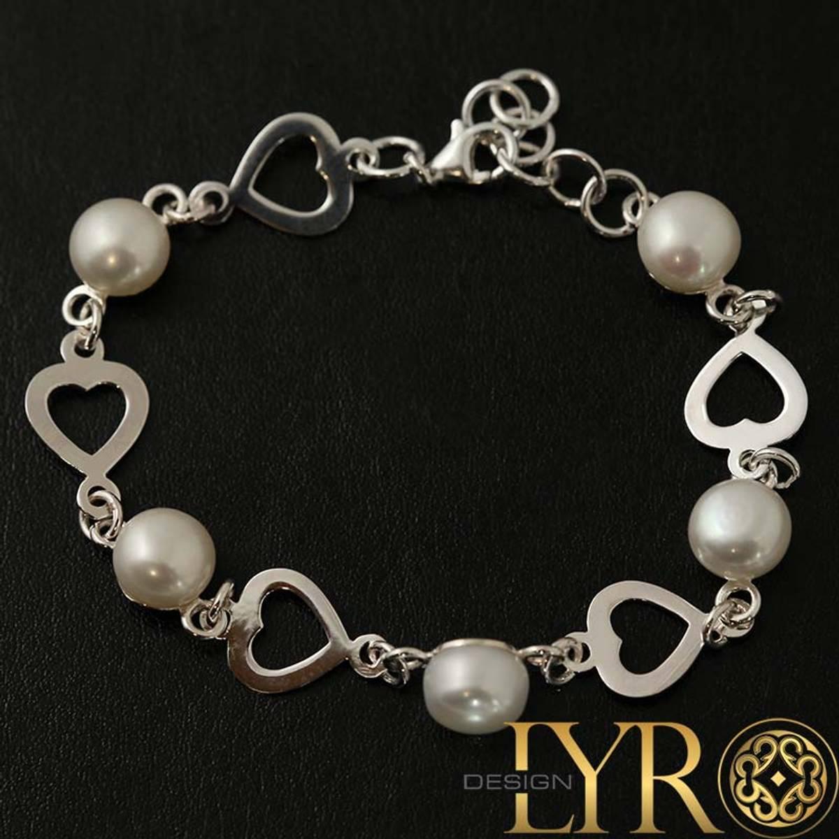 Sølvarmbånd med Hjerter og Perler