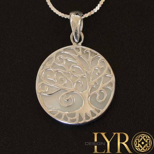 Bilde av Livets Tre - Sølvanheng med skjell dekor - Medium