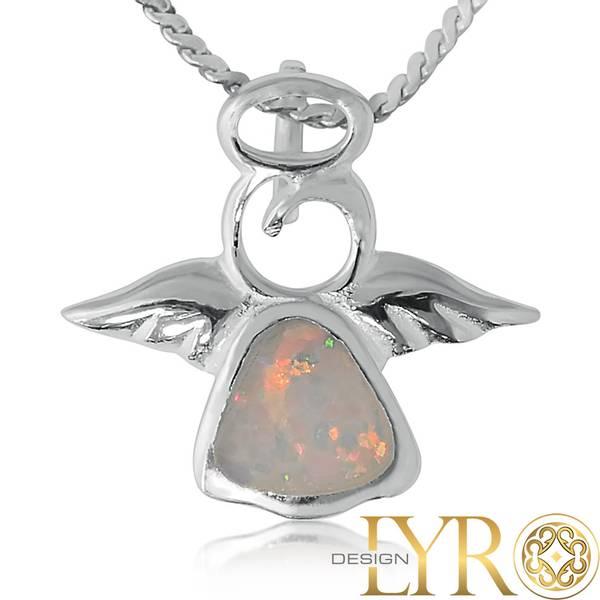 Bilde av Lysspeilende Engel - Sølv Kunstig Opal