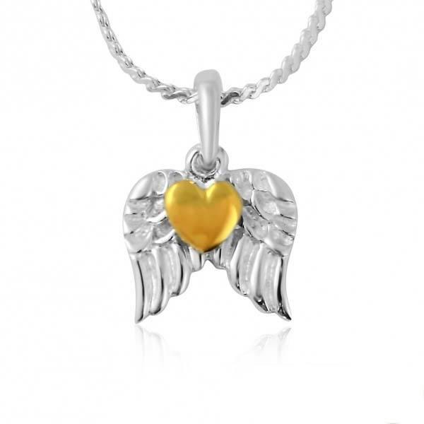 Bilde av Hjerte med Vinger - Gullbelagt Sølv