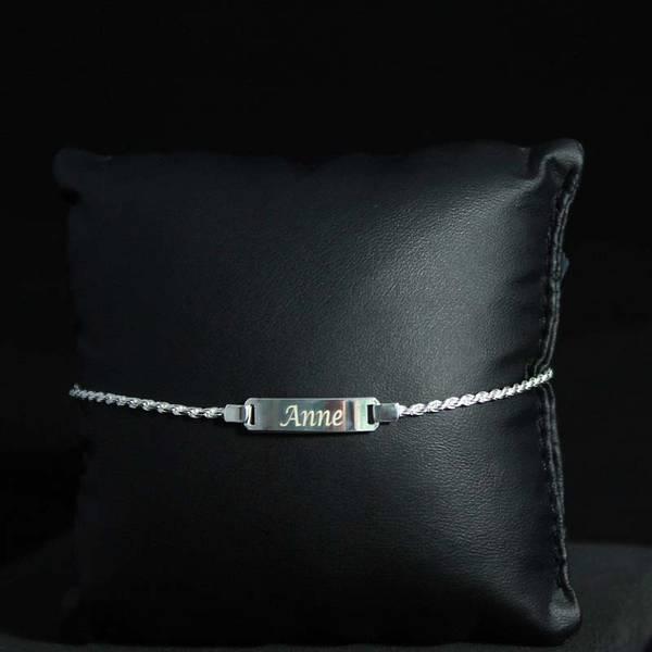 Bilde av Gravert sølvarmbånd med flettet lenke