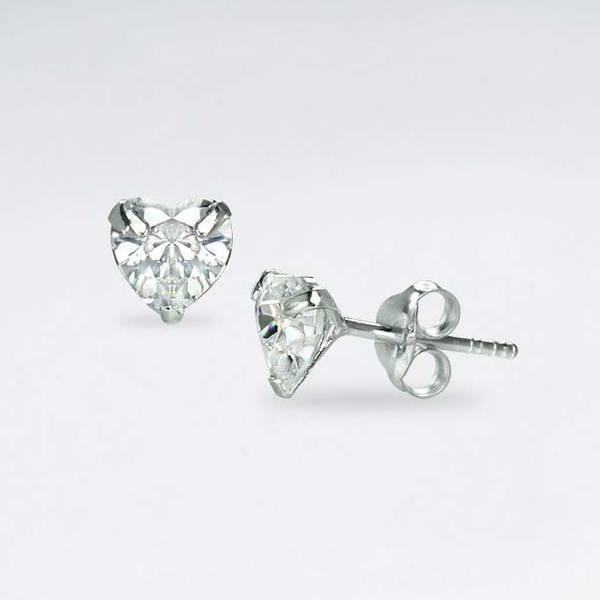 Hjerteformede Krystaller - Sølv CZ