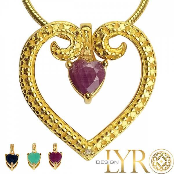Bilde av Hjerte med Utskiftbare Edelstener - Gullbelagt Sølv