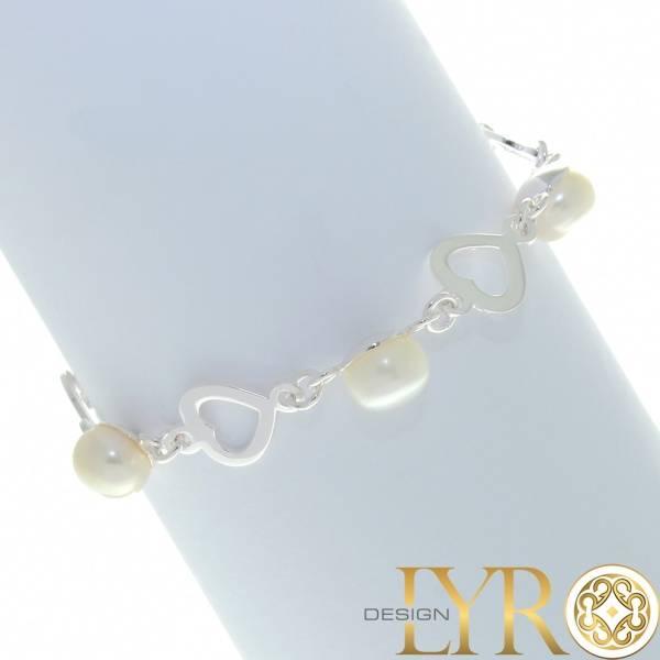 Bilde av Sølvarmbånd med Hjerter og Perler