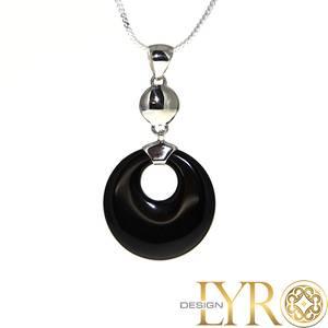 Bilde av Black Stone Halssmykke - Sølv