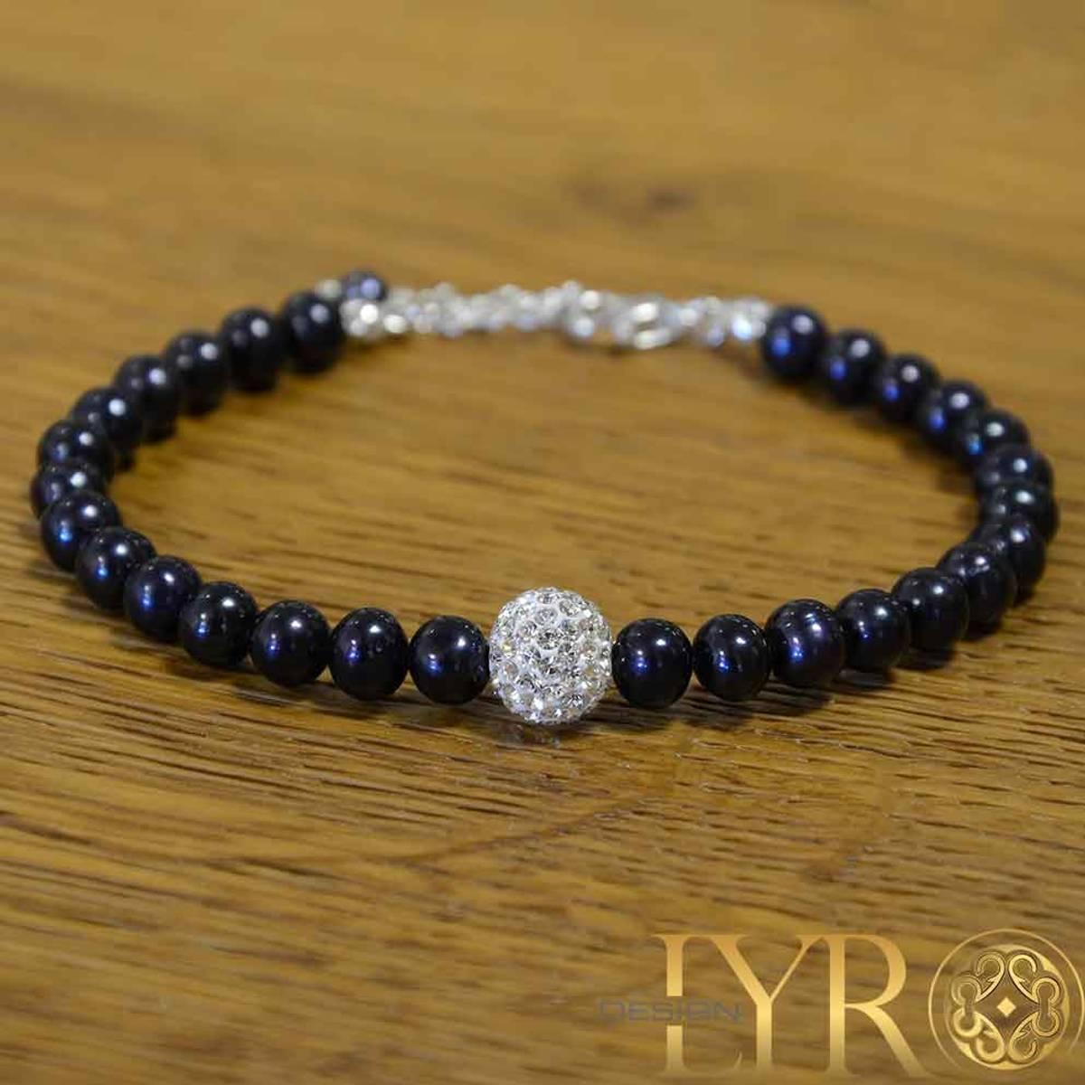 Perlearmbånd - Mørke Blå Ferskvannsperler