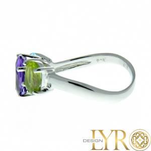 Bilde av Mulan - Sølvring med Smaragd, Ametyst & Granat