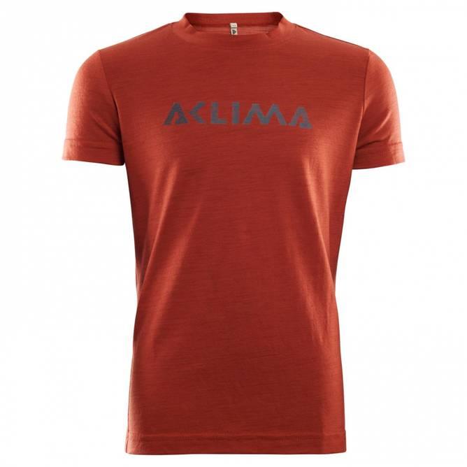 Bilde av Aclima LightWool T-shirt Logo Jr Red Ochre