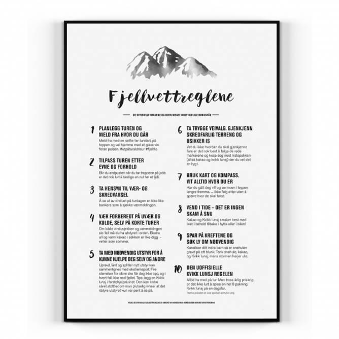 Bilde av Plakat Fjellvettreglene
