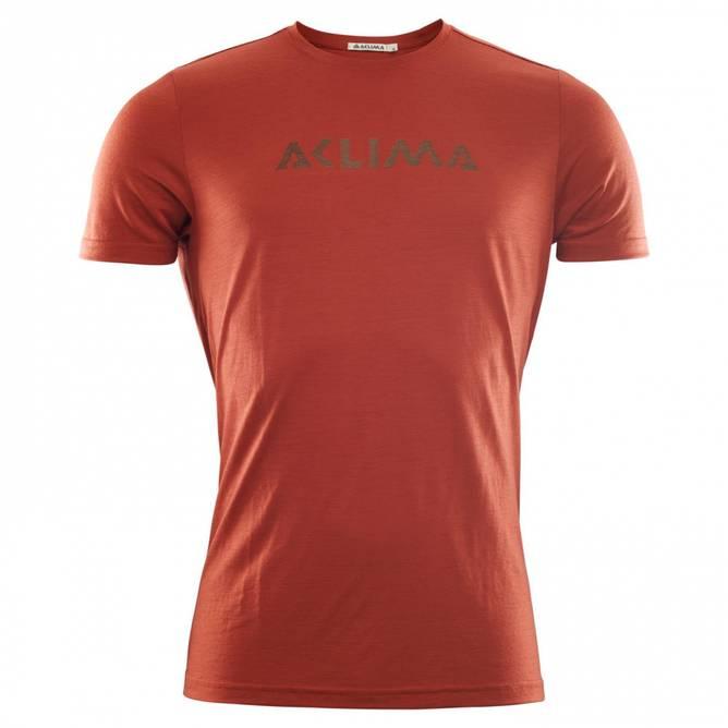 Bilde av Aclima LightWool T-shirt logo M Red Ochre