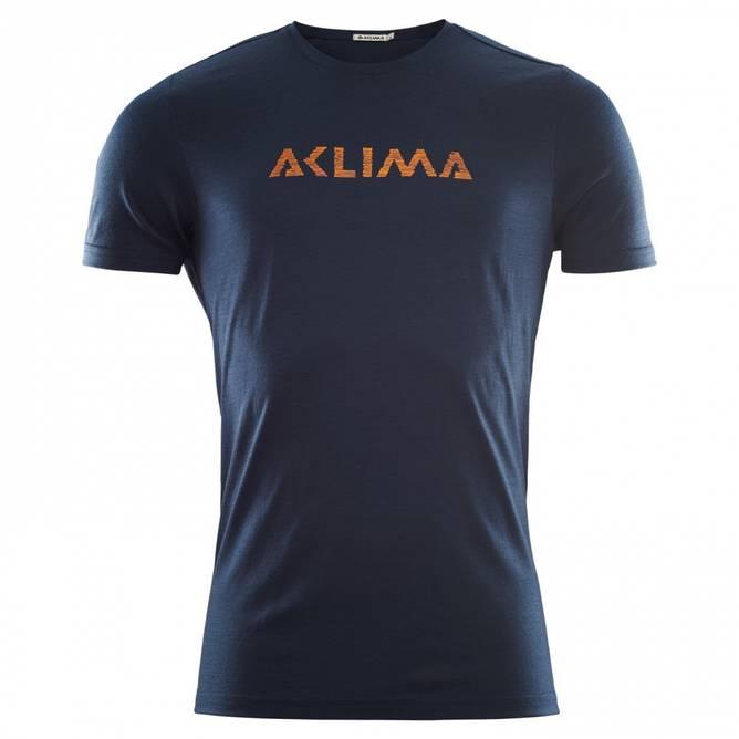Bilde av Aclima LightWool T-shirt logo M Navy Blazer