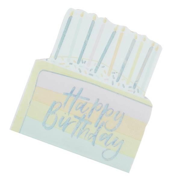 Bilde av SERVIETTER - Bursdagskake - Happy Birthday  - Pastel Party