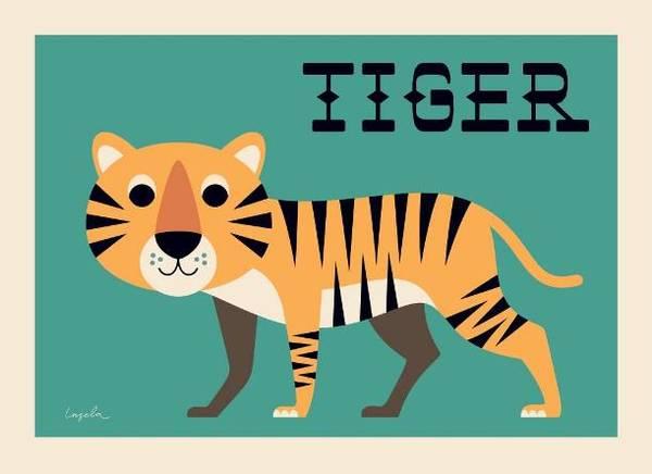 Bilde av POSTER - Curious Tiger - Ingela P Arrhenius